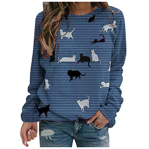 Hanomes Sudadera de manga larga para mujer con estampado de gato, para otoño e invierno, camiseta de manga larga, camiseta con cuello redondo a rayas B – Azul S