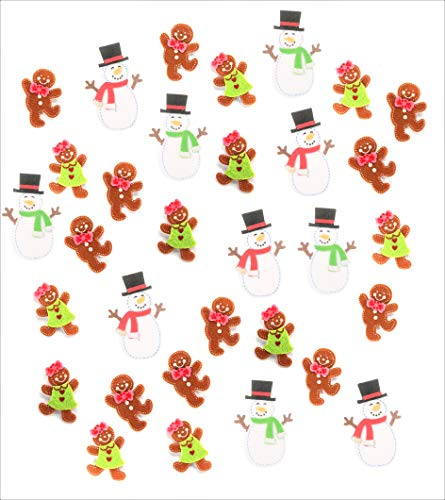 Christmas Holidays Felties Felt Snowmen & Gingerbread Stickers - 10pc Snowmen Stickers & 22pc Gingerbread Stickers - for Christmas Arts & Crafts, Stocking Stuffers, & More! - Bundle of 2-Items