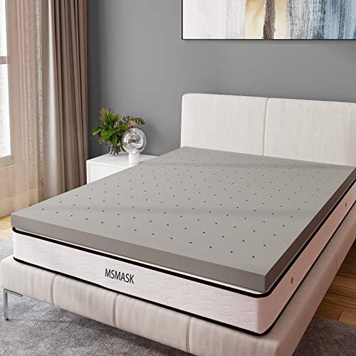 MSmask Matratzenauflage aus Bambuskohle, atmungsaktives Design, Druckentlastung, konstante Temperatur, Schlaf für einfache Erholung, Einzelbett (90 x 190 cm)