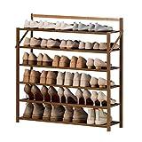 Kiter Zapatero plegable de 6 niveles, zapatero de bambú, moderno, sencillez, puerta de casa, zapatero, sala, pasillo, entrada, hogar, estante de zapatos (tamaño: 90 cm)