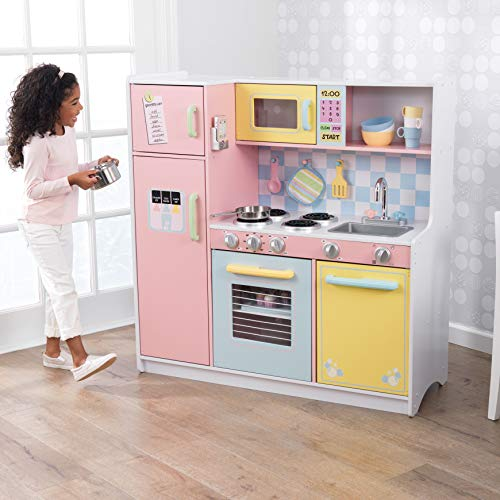 KidKraft KidKraft Wooden Large Pastel Play Kitchen with Turning Knobs, See-Through Doors and Play Phone, Gift for Ages 3+