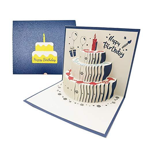 3D Pop-up Geburtstagskarte mit Roter Kerze, Früchte, Blumen, Luftballons Muster, Handgefertigt Geburtstagskarte mit Umschlag, 3 Schicht Kuchen Design - Blau