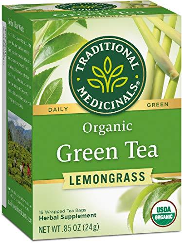 Traditional Medicinals Organic Green Tea, Mildly Invigorating, 16, Lemongrass, 96 Count (Pack of 6)
