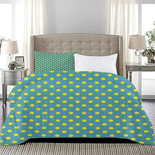 UNOSEKS LANZON Duvet Cover Big Vintage Polka Dots Pattern Nostalgic Stylized Spotted Pastel Design Summer Duvet Cover Extra Lightweight Modern Design Teal Yellow, Full Size