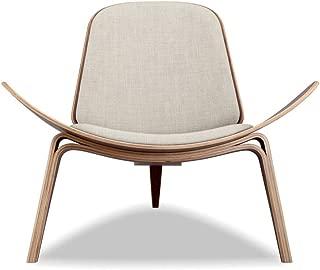 Kardiel Tripod Plywood Modern Lounge Chair, Urban Hemp Twill/Walnut