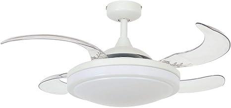 FANAWAY Evora Plafondventilator met licht (2 x E27) en afstandsbediening, 51,5 W, wit, 94 cm diameter, 42 cm ingeklapt