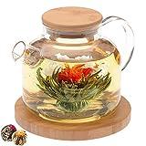 Teabloom Stovetop Safe Glass Teapot with Bamboo Lid (40oz/1200ml) + Loose Leaf Tea Filter Spout + 2 Blooming Teas + Large Bamboo Trivet/Coaster - Natural Flowering Tea Gift Set - Timeless Moments
