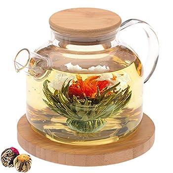 Teabloom Stovetop Safe Glass Teapot with Bamboo Lid  40oz/1200ml  + Loose Leaf Tea Filter Spout + 2 Blooming Teas + Large Bamboo Trivet/Coaster - Natural Flowering Tea Gift Set - Timeless Moments