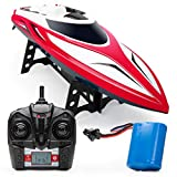 Force1 Velocity H102 RC Boat - Remote Control Boat for Pools and Lakes, Fast RC Boats for Adults and Kids with 20+ mph Speed Boat, 4 Channel 2.4GHZ Remote Control, and Rechargeable Boat Battery (Red)