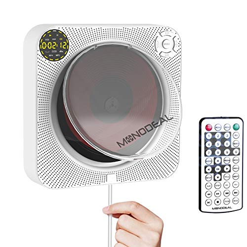Rechargeable Portable CD Player with Bluetooth, Wall Mounted CD Player with Speaker with Remote Control and Dust Cover, Also Support DVD, VCD and More