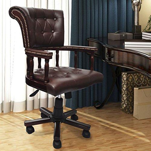 SHENGFENG Drehstuhl Bürostuhl Chesterfield Ledermix Chefsessel 62 x 50 x 96-104 cm