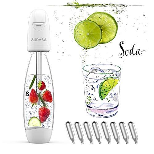 Portable Soda Water Maker Homeow Sparkling Water Maker Bottle SUDABA Mini Soda Machines for Home Soda Stream (BPA free) + 8 Standard 8g CO2 Cylinder