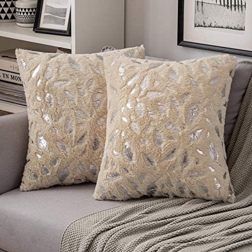 MIULEE Faux Fur Cushion Covers Silver Feather Throw Pillow Covers Fluffy Soft Lovely Decorative Square Pillowcase Plush Case for Livingroom Sofa Bedroom 18 x 18 Inches 45 x 45 cm Champagne Pack of 2