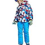 Skijakkeset Combinaison de Ski Enfant Imperméable Veste à Capuche+Pantalon Chaude Ensemble Costume de Snowboard