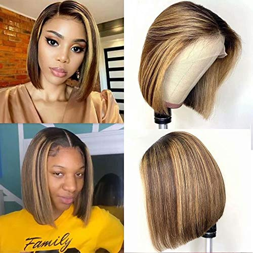 Maxine 4/27 Ombre Short Lace Front Human Hair Bob Wig Straight Highlight Blonde Color Hair Lace Front Wigs Human Hair Pre Plucked 150% Density Straight Short Bob Wigs Bleached Knots 10 Inch