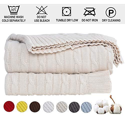 Shaddock Baumwolle Gestrickte Decke 4 Jahreszeiten Bettdecke -130x180cm Ultra Weiche überwurf Decke Wohn-Kuscheldecke für Baby Couch Bett Sofa Stuhl Auto Büro (Beige, Muster verdrehen)