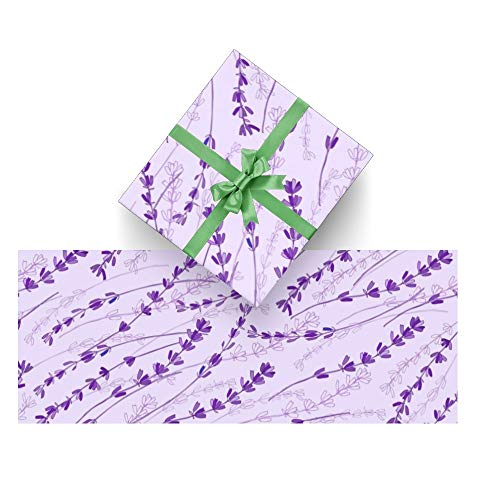 CUXWEOT Gift Wrapping Paper Purple Lavender Pattern for Christmas,Birthday,Holiday,Wedding,Gifts Packing - 3Rolls - 58 x 23inch Per Roll