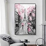 JHGJHK Pareja romántica sosteniendo Paraguas bajo la Torre Eiffel en París. Pintura al óleo Pintura artística y decoración de la Pared de la Sala de Estar. Amantes Pintura al óleo Cuadro 2