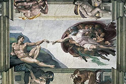 Creación de Adán Rompecabezas 1000 Piezas Miguel Ángel Pintura al óleo Adultos Rompecabezas de Madera Niños Adolescentes Ensamblar Juguetes Rompecabezas 1000