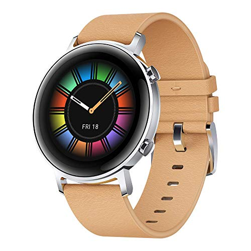"""Huawei Watch GT 2 Classic - Smartwatch con Caja de 46 mm (Hasta 2 Semanas de Batería, Pantalla Táctil AMOLED de 1.39"""", GPS, 15 Modos Deportivos, Llamadas Bluetooth), marrón"""