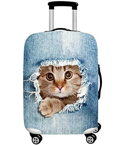スーツケースカバー 伸縮素材 欧米風 猫 Cat キャリーバッグ カバー トランクカバー 耐久性 お荷物カバー 防塵カバー 人気 おしゃれ かわいい S M L XL/Z748 (S, 猫D)
