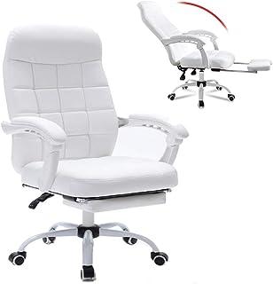 DFLY Blanca Silla Gaming Silla Oficina con reposapies, casa de Cuero ergonómico Escritorio sillas de computadora, Silla giratoria de 360 ° Barata y cómoda con Altura Ajustable