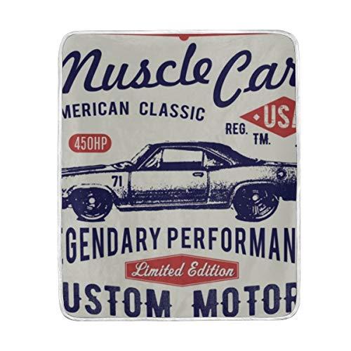 TARTINY Grafik Sport Retro Auto Vintage Hotrod Muskel Stempel Race Design Art—(230x270cm) Flanell Fleece Samt Plüsch Decken für Bett und Couch