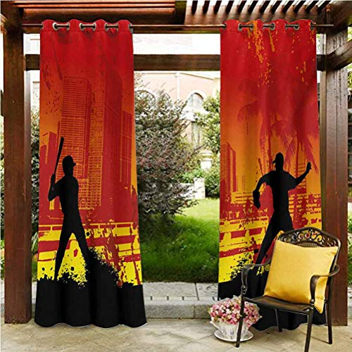 ScottDecor Teen Room Outdoor Sheer Curtain Gazebo Garden Furniture House Men Playing Baseball in The Town City Park Tall Buildings Urban Scenery Red Yellow Black 96' W by 84' L(K245cm x G214cm)