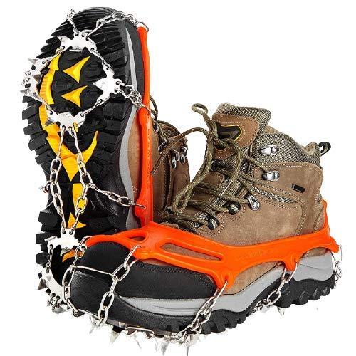 MOC Crampones de hielo con 19 dientes de acero inoxidable auténtico y pinzas de silicona duraderas, antideslizantes, para invierno, caminar, senderismo, montañismo