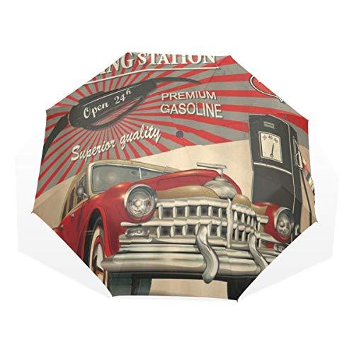 LASINSU Regenschirm,Tankstelle Plakat Weinlese Jeep Near Oil Guage Filling Retro Art,Faltbar Kompakt Sonnenschirm UV Schutz Winddicht Regenschirm