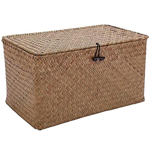 Handgefertigter Stroh gewebter Aufbewahrungskorb mit Deckel Make-up Organizer Aufbewahrungsbox Seegras Wäschekörbe Rattan Schmuckschatulle Aufbewahrungsbox