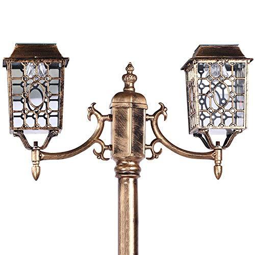 Led-tuinverlichting op zonne-energie met 2 lampen, waterdicht, voor gazon, hoge palen, roestvrij, aluminium, Villa vijver height200cm