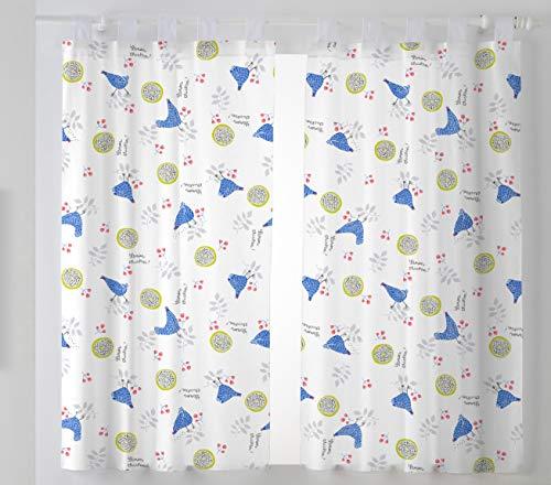 Martina Home Hennen Pack zasłony do kuchni, materiałowe, niebieskie, 29 x 2 x 38 cm, 2 sztuki