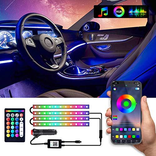 WOHOOH LED Innenbeleuchtung Auto, 4pcs 48 LED Auto LED Strip, Upgrade Zwei-Linien-Design, Wasserdicht Beleuchtung APP Steuerbare mehrfarbig Musik Innenbeleuchtung mit Zigarettenanzünder, DC 12V