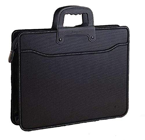True-Ally A3 Portfolio Documents File Storage Bag with Zipper Artist/Certificate File Holder/Document Folder for Certificates A3 Size/Legal/Brief Bag for Document, Black, 18 x 14.7 x 1.5 inches.