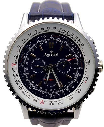 orologio subacqueo automatico Orologio da Uomo di Lusso Movimento Automatico Meccanico Big Face 50mm in Acciaio Inossidabile in Pelle Nera Orologi da Uomo Cronografo inPelle Blu