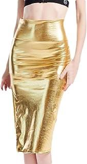 Howely Women's Shiny Metallic Nightclub Split High Waisted Bodycon Skirt