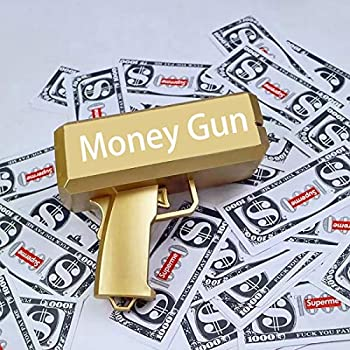 Jackky Dollar Gun Money Spray Gun Metallic Gold  Money Gun for Playing  Fun Party Game Props