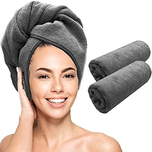 Scala Microfiber Rectangle Hair Towel Wrap - Magic Instant Quick Dry Turban Twist for Women. Anti Frizz Curly, Straight, Color Treated, Hair. (2 Pack)