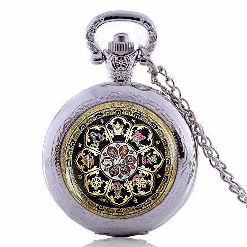 Vintage tibetano buddista Sacred Geometry tasca watch-argento ciondolo placcato necklace-handmade orologio da tasca collana gioielli per donne uomini bambini regali