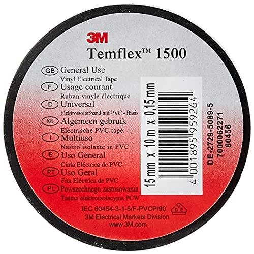 3M TSCH1510 Temflex 1500 Vinyl Elektro-Isolierband, 15 mm x 10 m, 0,15 mm, Schwarz