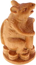 Fityle Wood Sculpture Lucky Chinese 12 Zodiac Desktop Ornament, Feng Shui Wooden Hand-Carved Crafts - Rat