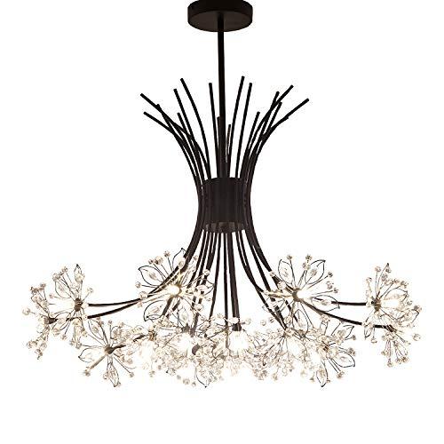 Garwarm Modern Firework Chandeliers,Crystal Dandelion Chandelier Pendant Lighting,Ceiling Lights Fixtures for Living Room Bedroom Restaurant,19-Light,Black