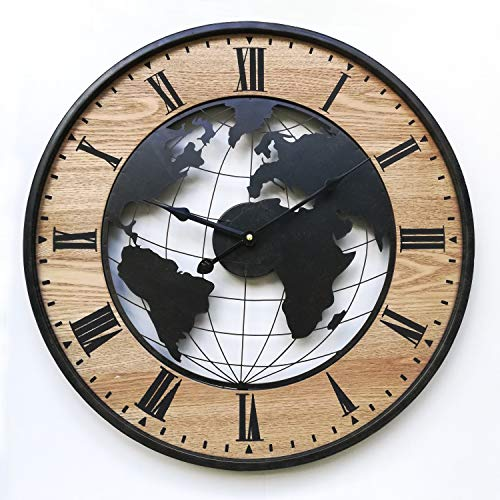 Rebecca Mobili Reloj de Pared, Reloj Redondo Grande, Negro marrón, diseño Retro, para Sala de Estar de Cocina - Diámetro 50 cm x P 4,5 cm - Art. RE6378