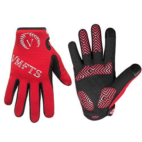 VMFTS Cycling Gloves Full Finger Motorcycle Gloves Outdoor Winter Work Gloves Touch Screen Men Womans for Driving Camping Hiking Riding Biking Running Hunting Fishing Shooting,Red X-Large