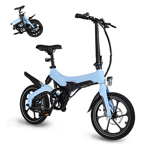 Elektrofahrrad faltbares E-Bike Klapprad Ebike City Bike Mountainbike 16 Zoll mit 250W Motor 36V 5.2Ah Lithium-Akku,25 km/h, 3 Geschwindigkeitsmodi, LCD-Bildschirm für Herren Damen bis 120kg