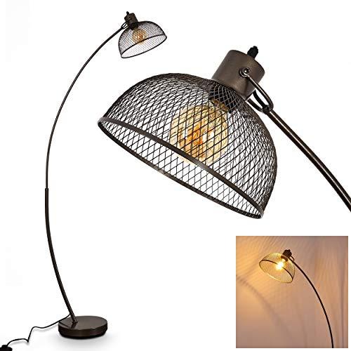 Stehlampe Randershof, Vintage Stehleuchte mit Lampenschirm in Stahl/Grau aus Metall, E27-Fassung, max. 60 Watt, Bogenlampe im Retro-Design m. Gitter u. Fußschalter am Kabel, LED geeignet, Lichteffekt