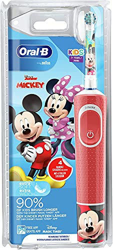 Oral-B Kids Mickey - Spazzolino elettrico per bambini dai 3 anni in su, con testina piccola e setole extra morbide, 2 programmi di pulizia inclusi Sensitive, Timer, 4 adesivi Mickey rosso