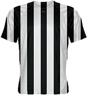 LightningWear Black and White Striped Athletic Soccer Shirt - Halloween Referee T Shirts