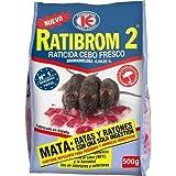 RATIBROM 2-Veneno contra roedores, Ratas y Ratones 500g, Red
